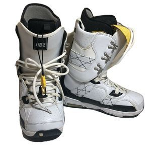 Burton Mens Hail White Yellow Snowboots Size 8